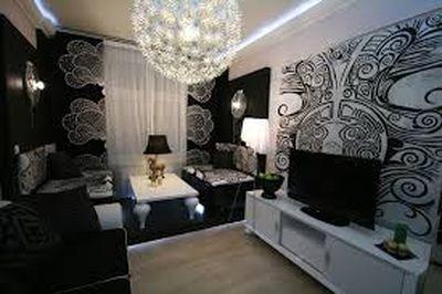 Черно-белые обои для стен в интерьере