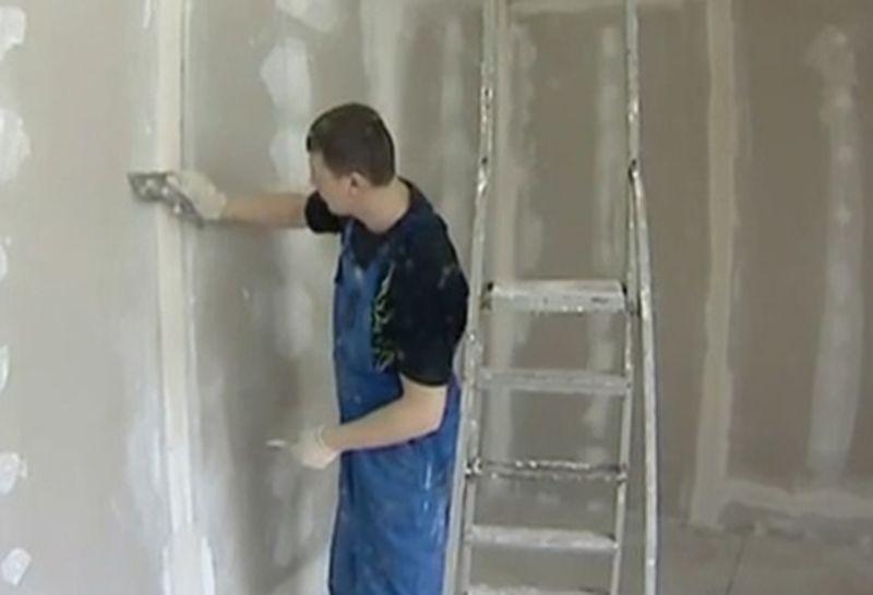 Штукатурка стен по гипсокартону своими руками видео